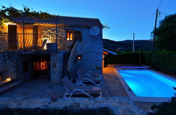 eco villa pool on the night